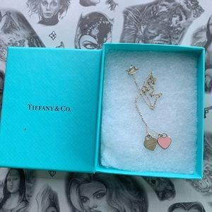 Pink double heart Tiffany necklace